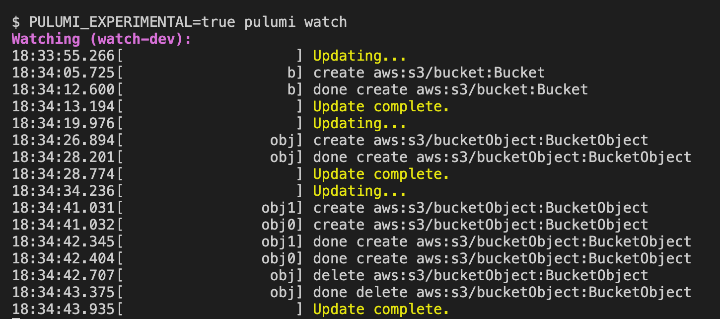 Pulumi Watch: Fast Inner Loop Development for Infrastructure