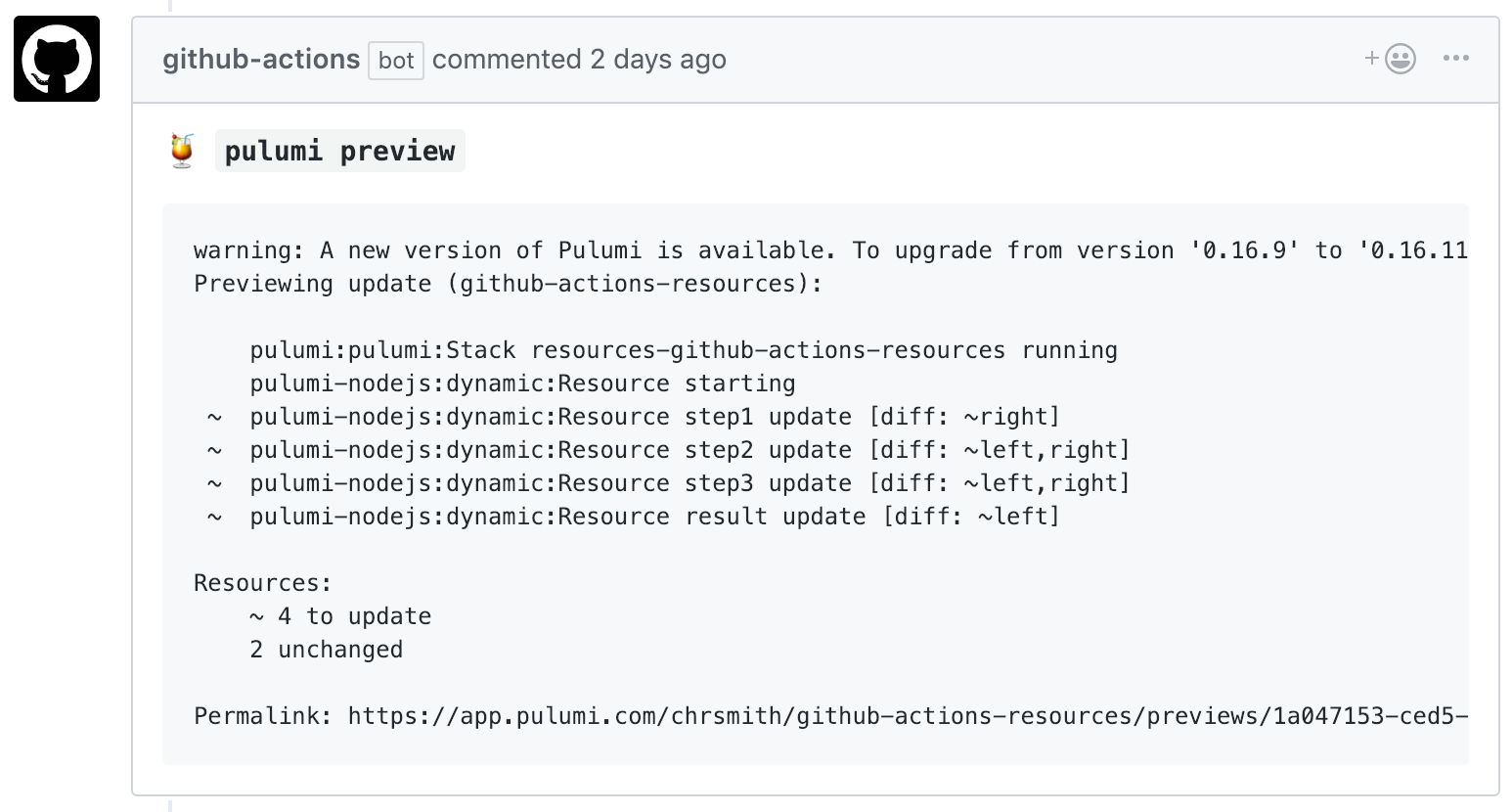Comment from GitHub Actions