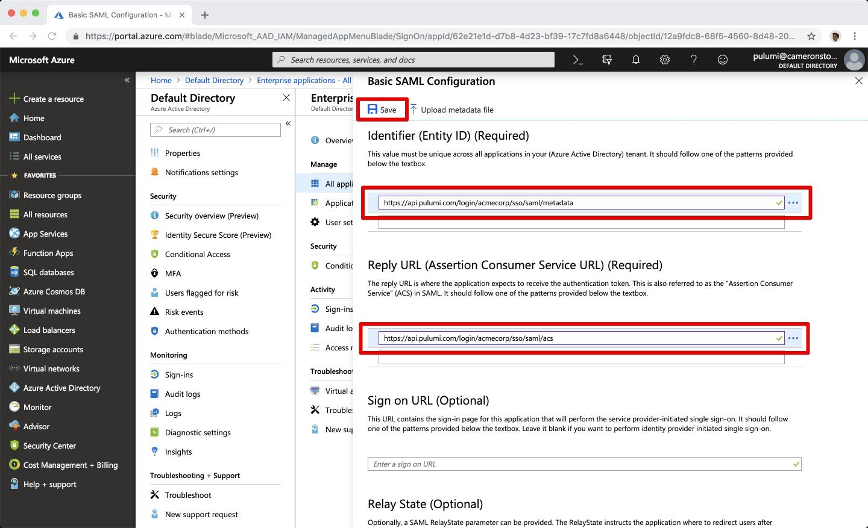 SAML Configuration > Azure Active Directory