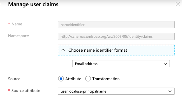 Manage Name Identifier Format